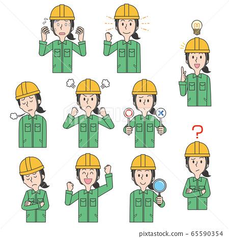 Worker worker woman factory helmet work clothes set 65590354