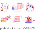 Cartoon icon set with customer care marketing, social media PR, analysis, research and content business  65591029