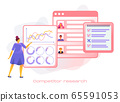 Cartoon icon with competitor research marketing business for SMM analytics, audience segmentation.  65591053