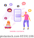 Business people creative team creating mobile content on huge smartphone. 65591106