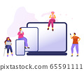Cartoon icon with social media communication characters. that chat in phone, tablet, notebook with text babble. 65591111