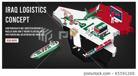 Modern isometric concept of Iraq transportation with Global Logistics, Warehouse Logistics, Sea Freight Logistics.  Easy to edit and customize. Vector illustration 65591260