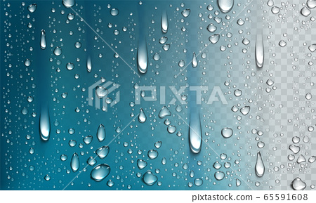 Water droplets isolated on transparent background 65591608
