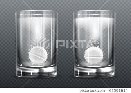 Effervescent pill with fizz bubbles in water glass 65591614