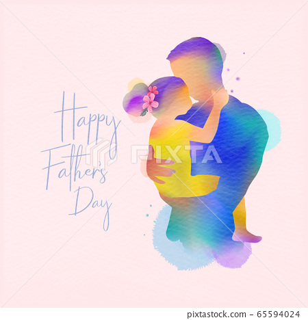 Happy father's day.  Happy family daughter hugging 65594024