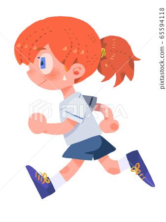 달리는 소녀 주로 선없이 65594118
