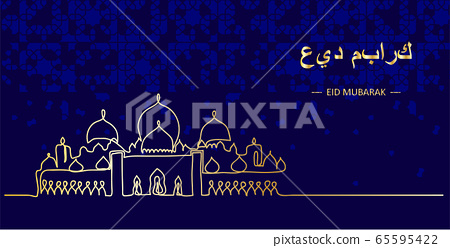 Eid Mubarak vector dark night greeting with Sheikh Zayed grand mosque. Translation Eid Mubarak.One continuous line drawing card, greeting,background 65595422