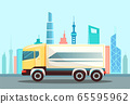 Truck Car on Highway in City, Delivering Cargo 65595962