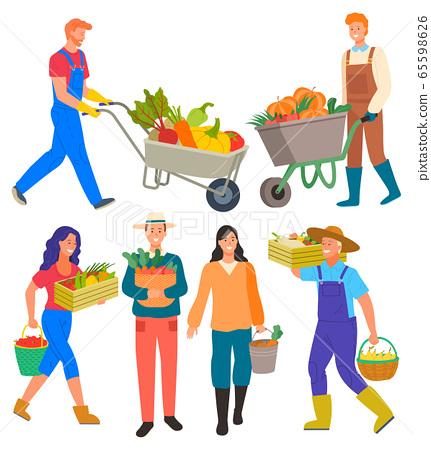 Farming Man Woman, Harvesting People Set Vector 65598626