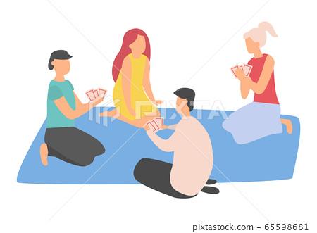 People Gambling, Friends Leisure on Mat Vector 65598681