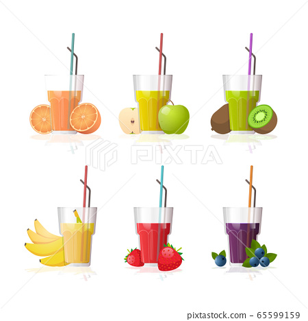 set glasses of fresh juice with straw and sliced fruits collection isolated on white background 65599159