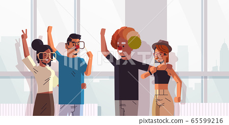 first april fool day mix race colleagues wearing funny glasses mustache and clown hat holiday celebration concept modern office interior horizontal portrait 65599216