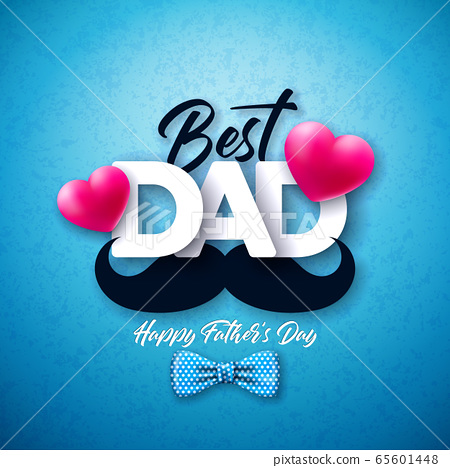 Happy Father's Day Greeting Card Design with Dotted Bow Tie, Mustache and Red Heart on Blue Background. Vector Celebration Illustration for Dad. Template for Banner, Flyer, Invitation 65601448