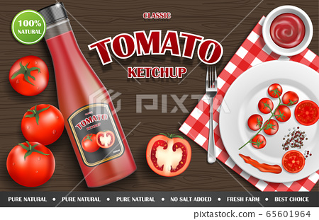 Tomato ketchup ad. Realistic ketchup sauce bottle with tomato and plate on wooden background. vector illustration 65601964