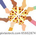 Top view of people hands taking pizza slices  65602874
