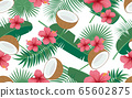 Seamless pattern of tropical floral and leaves 65602875