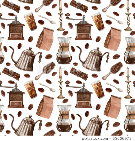 Watercolor coffee seamless pattern. Hand drawn vintage coffee elements and hot beverage on white background. Breakfast backdrop 65606975