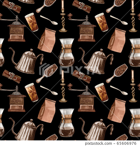 Watercolor coffee seamless pattern. Hand drawn vintage coffee elements and hot beverage on black background. Breakfast backdrop 65606976