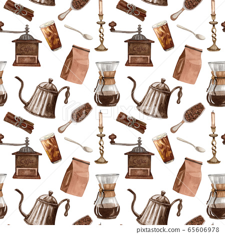 Watercolor coffee seamless pattern. Hand drawn vintage coffee elements and hot beverage on white background. Breakfast backdrop 65606978