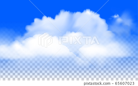 투명 하늘색 배경 사실적 벡터 구름 세트 65607023