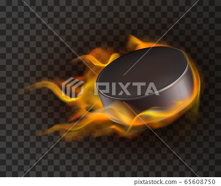 Realistic ice hockey puck in fire 65608750