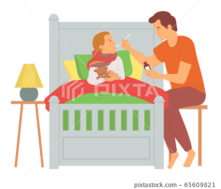 Parent Caring of Ill Child, Dad and Son Vector 65609821