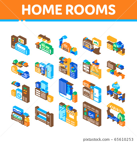 Home Rooms Furniture Isometric Icons, Home Rooms Furniture