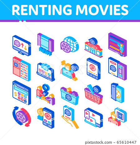 Renting Movies Service Isometric Icons Set Vector 65610447