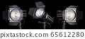 Set of photography studio flash isolated on black 65612280