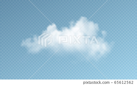 Transparent clouds isolated on blue background. Real transparency effect. Vector illustration 65612562