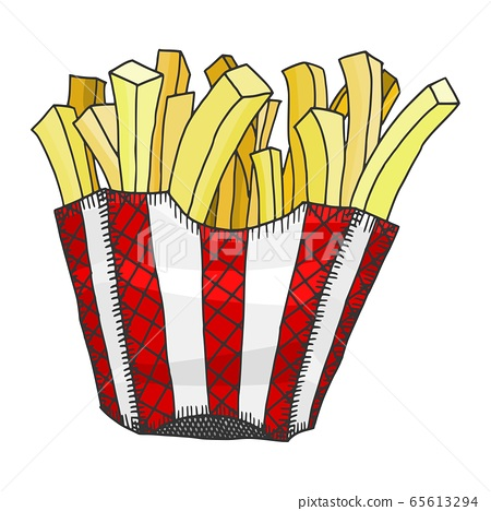 crispy fries in a box. doodle sketch potato fri 65613294
