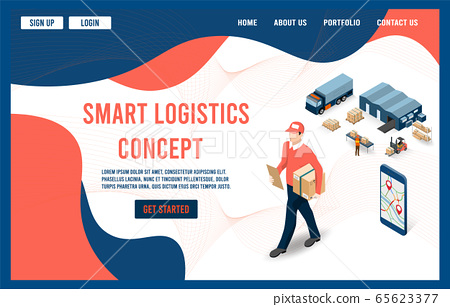 Modern flat design isometric concept of Smart Logistics with global logistics partnership for website and mobile website.  Easy to edit and customize. Vector illustration 65623377