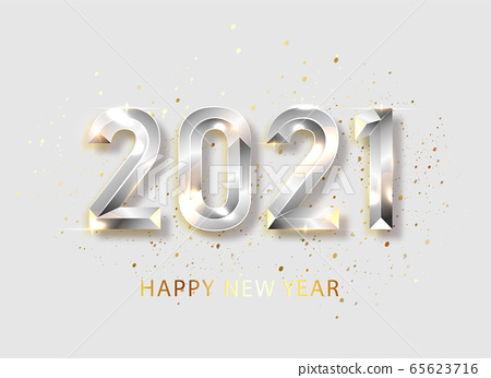 Happy new year 2021 banner. Silvered Vector luxury text 2021 Happy new year. Silver Festive Numbers Design. Happy New Year Banner with 2021 Numbers. Vector illusration EPS 10 65623716