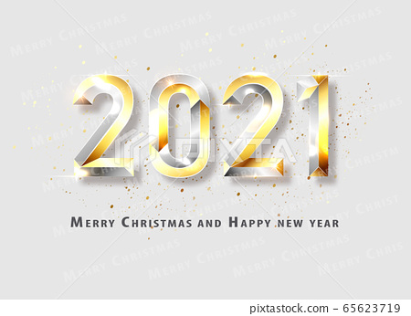 Happy New 2021 Year. Holiday vector illustration of golden metallic numbers 2021. Realistic 3d sign. Festive poster or banner design. Vector illusration 65623719