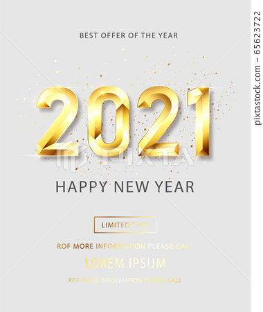 Happy New 2021 Year. Holiday vector illustration of golden metallic numbers 2021. Realistic 3d sign. Festive poster or banner design. Vector illusration 65623722