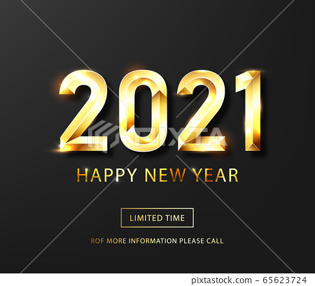 Happy new year 2021 banner.Golden Vector luxury text 2021 Happy new year. Gold Festive Numbers Design. Happy New Year Banner with 2021 Numbers .Vector illusration 65623724