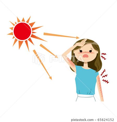 여성 선탠 여름 01 태양 상반신 65624152