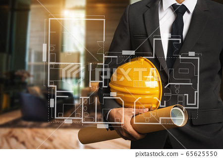 engineer with Creative architect projecting .The concept of engineering, construction, city life and future.  65625550