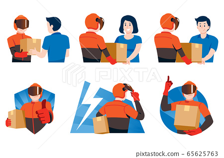 The fast delivery service man with secure.  65625763