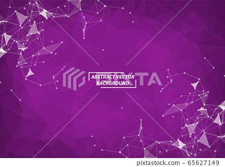 Abstract Purple Polygonal Space Background with 65627149