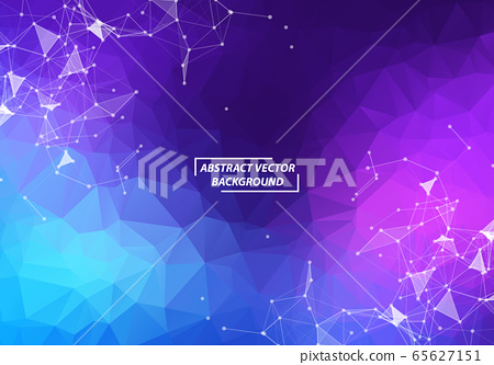 Abstract Purple Polygonal Space Background with 65627151