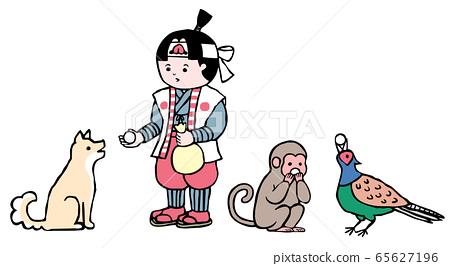 吃痤瘡餃子的桃太郎,猴子,狗和野雞的插圖 65627196
