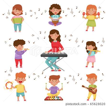 Happy Kids Playing Different Musical Instruments Vector Illustrations Set 65628020
