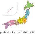 화려한 일본지도 65628532