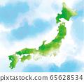 수채화 일본지도 65628534