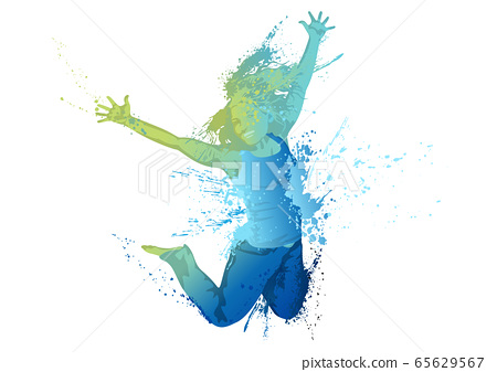 Dancing Girl with Colorful Splashes on White 65629567