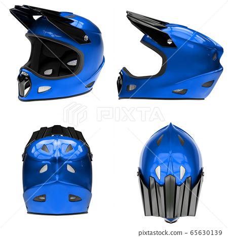 Set of Motor Sport FullFace Helmet Isolated 65630139