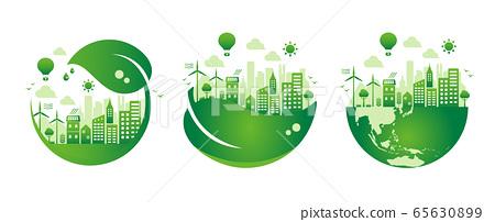 考慮生態,生態,自然和環境的城市生活形象插圖集(等級)/無文本 65630899
