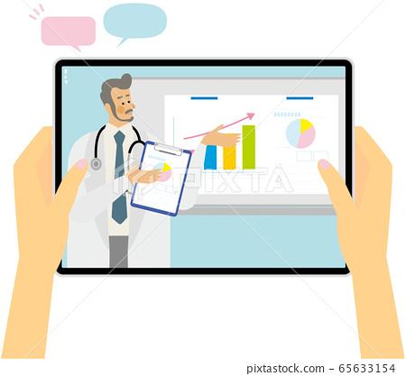 在線課堂演講解釋醫生會議平板電腦插畫矢量 65633154