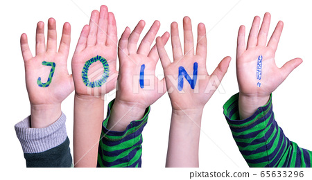Children Hands Building Word Join, Isolated 65633296